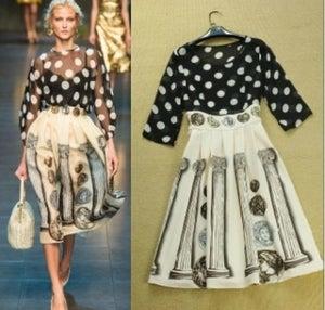Image of Polka Dot Mix Print Dress