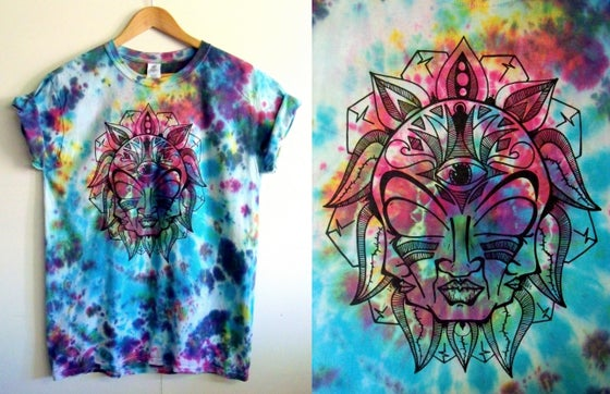 Image of FreeFace tie dye t-shirt - Electric (multi-coloured)