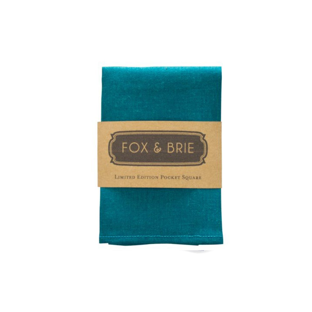 Image of Teal Linen Pocket Square