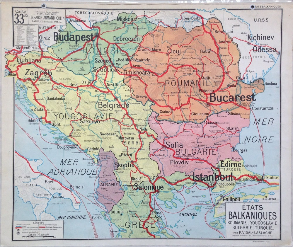 Image of Early 1960s map of the Balkan States