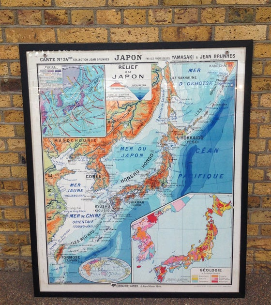 Image of 1950s Old School Map of Japan