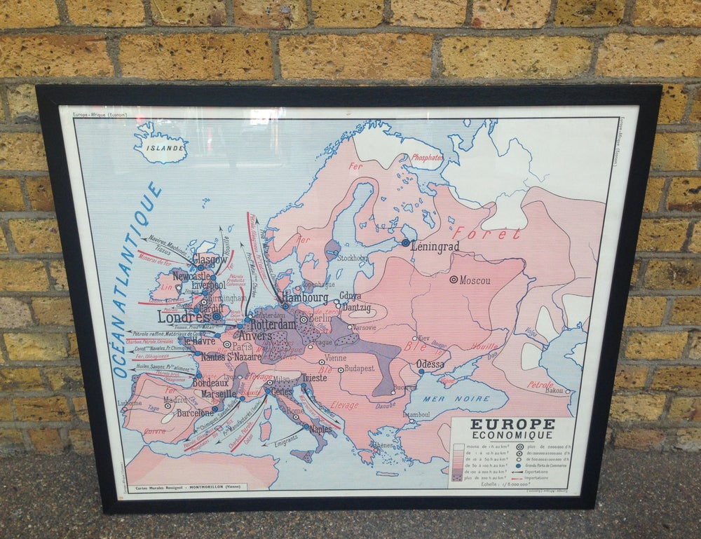 Image of 1950s Economic Map of Europe