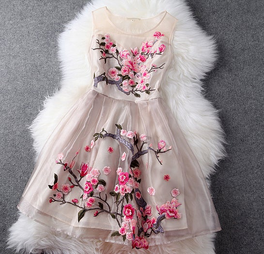 Image of THREE-DIMENSIONAL EMBROIDERED HANDMADE DRESS