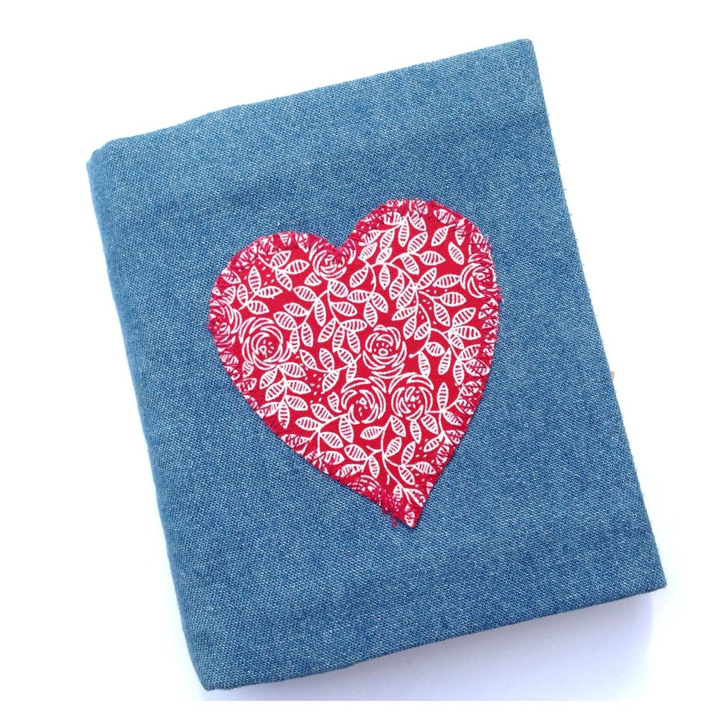Image of  Light Denim with Applique Love Heart Re Usable Notebook Slip Cover