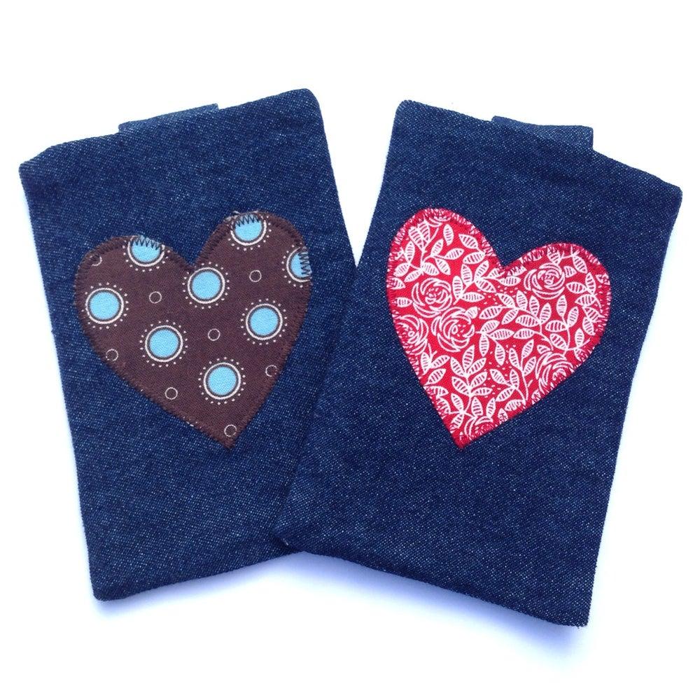 Image of Dark Denim Applique Heart iPhone/Gadget Case with Belt Closure