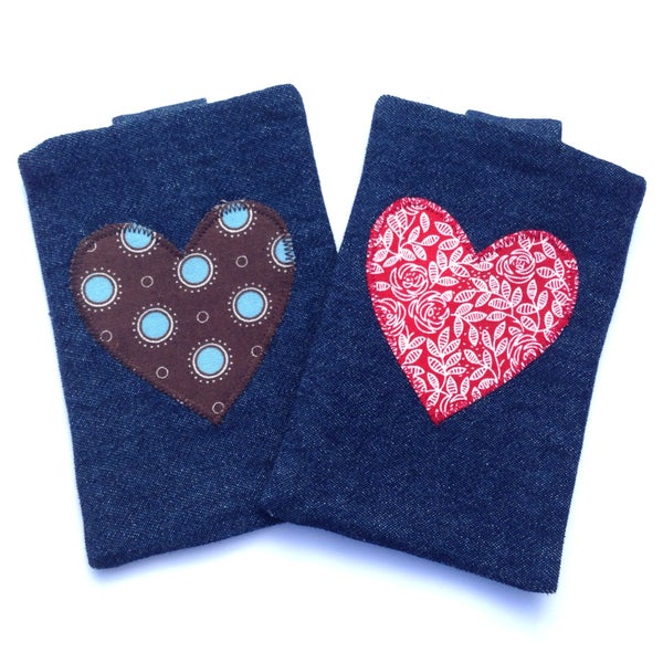 Image of Dark Denim Applique Heart iPhone/Gadget Case with Belt Closure