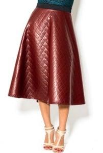 Image of Burgundy Diamond Leather Skirt
