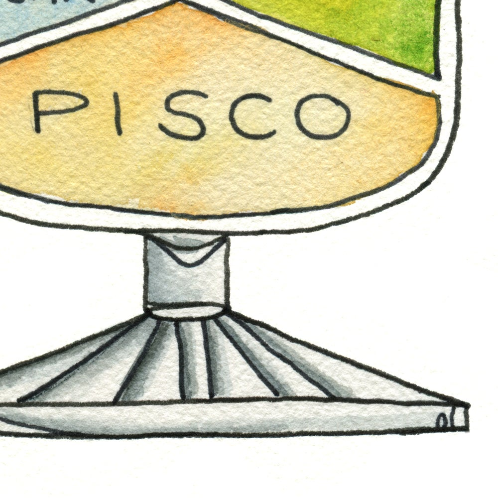 Image of Pisco Sour Cocktail Diagram Art Print