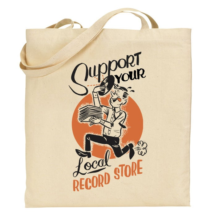 Image of Support Your Local Record Store Totebag (Orange/Black)