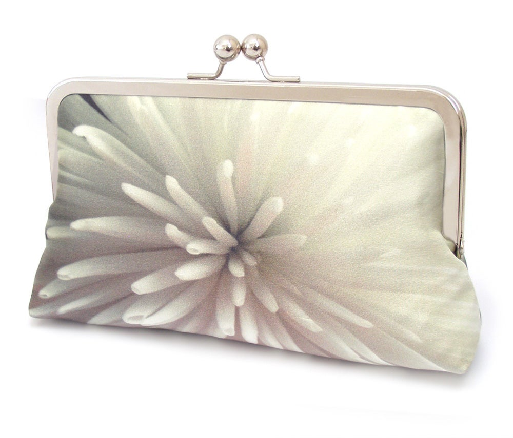 Star Chrysanthemum Floral Clutch Bag Silk Purse White Clutch Purs...