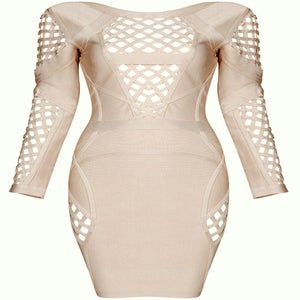 Image of Beige Apricot Peek A Boo Bandage Bodycon Pencil Dress