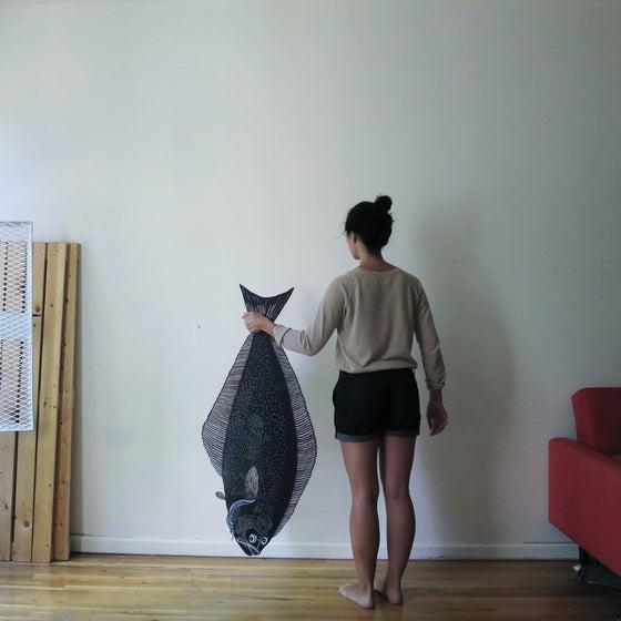 Image of Hayley's Halibut Woodcut Sculpture Print