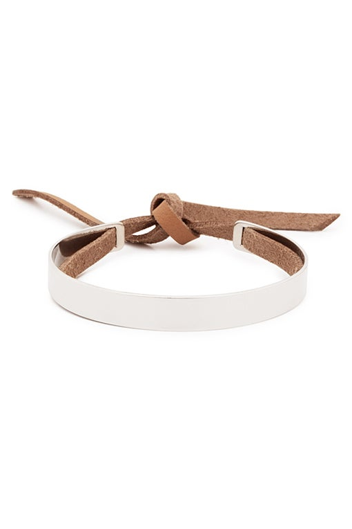 Image of Stripe Bracelet with Leather Band