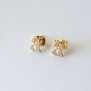 Image of Lowercasae Inital Earrings Gold or Silver