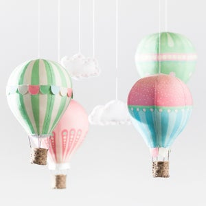 Image of Fabric Panel - Hot Air Balloons in Pink Petals