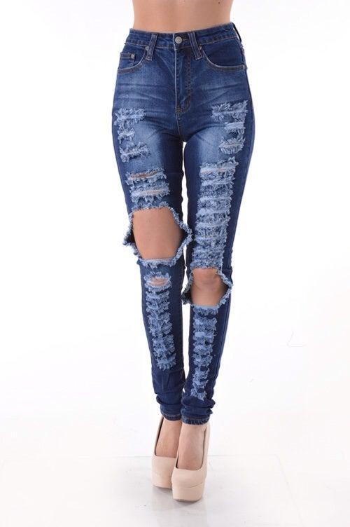 Image of Denim knee cut jeans