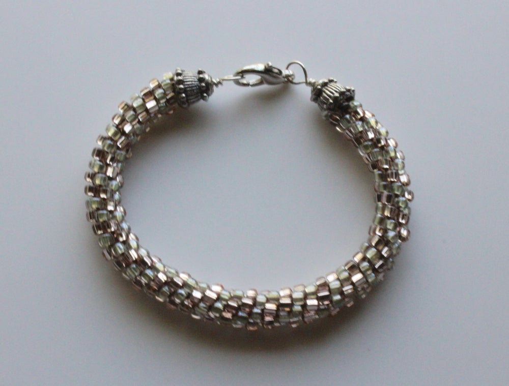 Image of Mint Champagne Kumihimo Bracelet