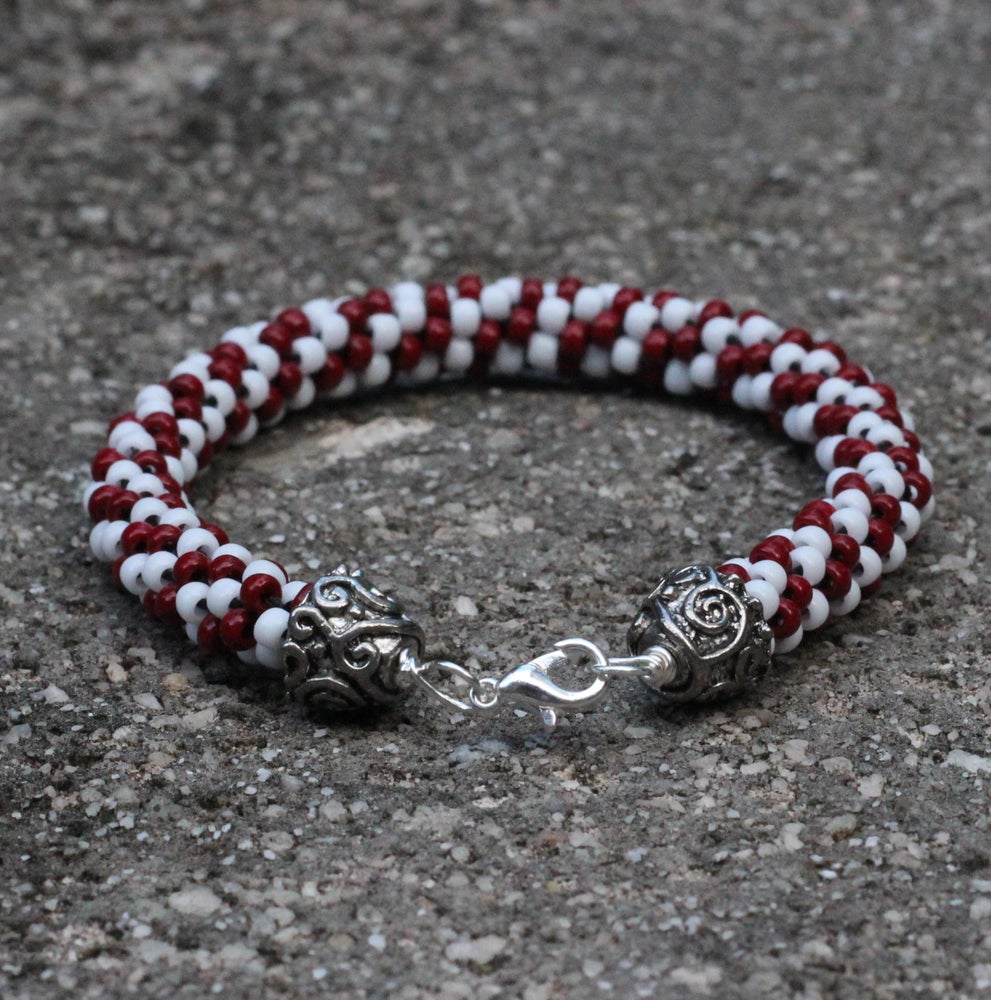 Image of Team Favorite Series: Crimson and White Kumihimo Bracelet