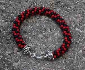 Image of Fan Favorite Series: Red and Black Kumihimo Bracelet