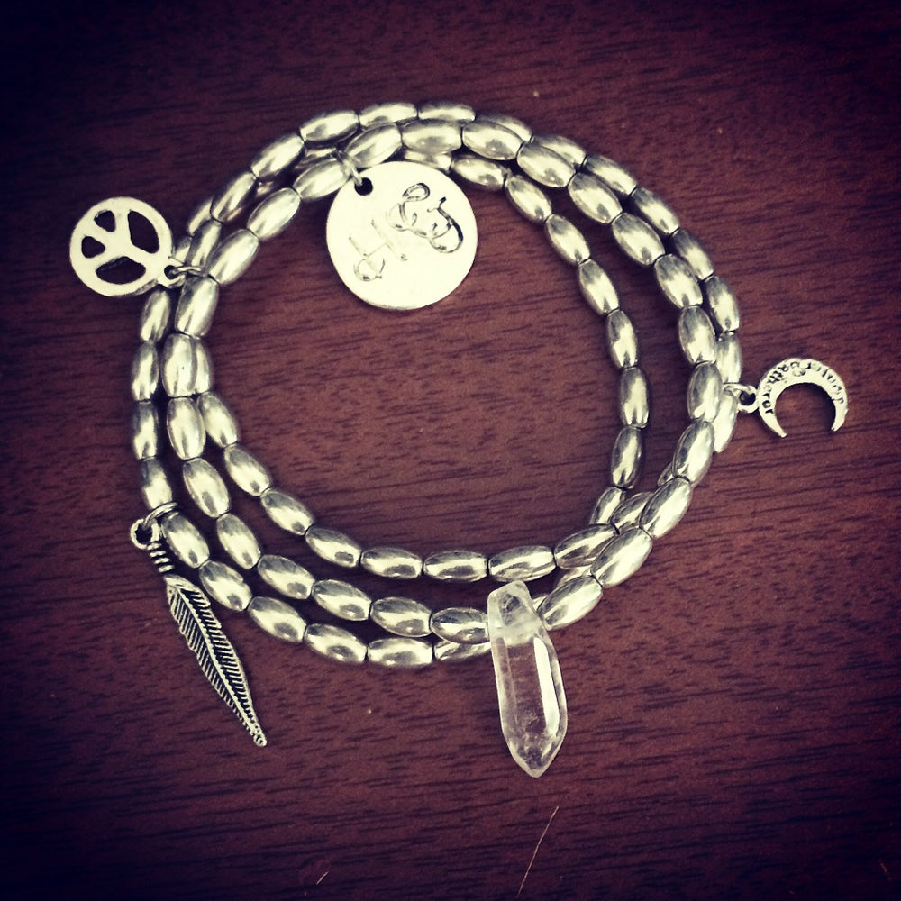 Image of Quartz point charm beaded bracelet set