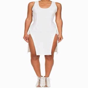Image of Double split knee length dress