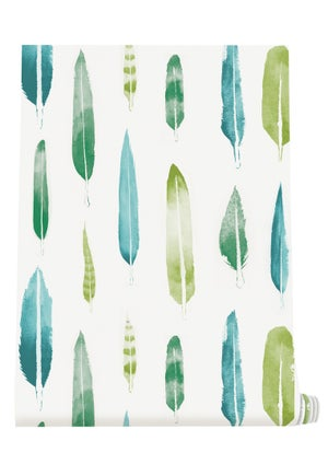 Image of Feathers Wallpaper - Coach Emerald