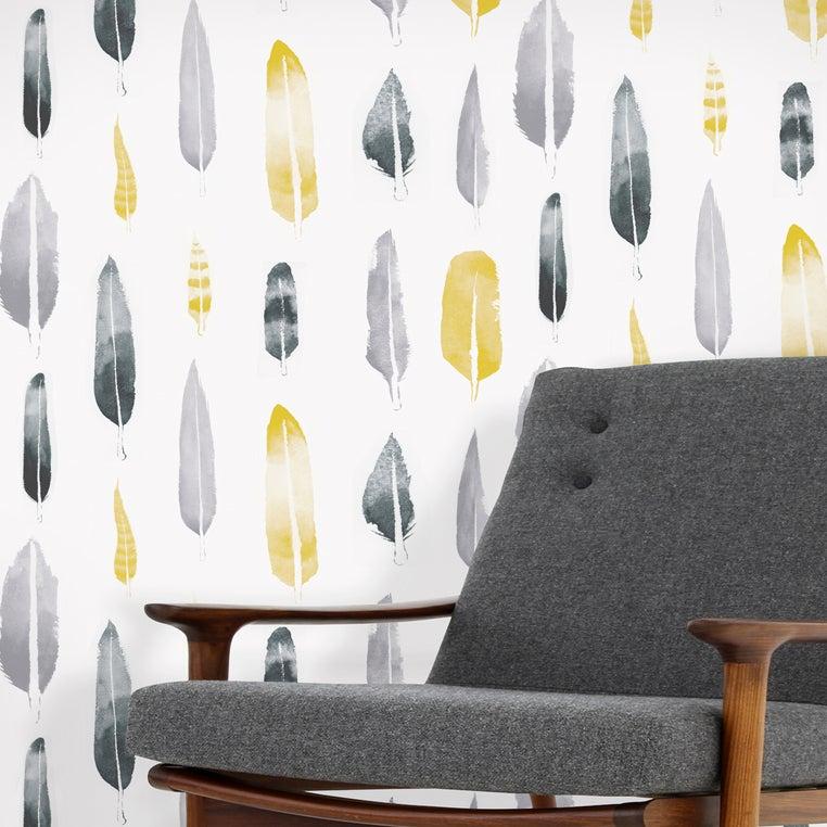 Mustard Design Wallpaper : Mini moderns feathers wallpaper mustard