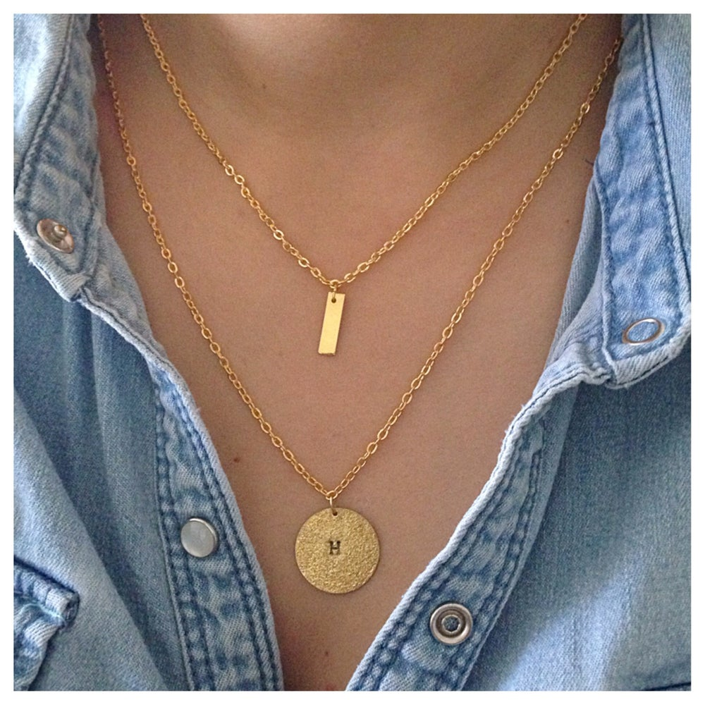Image of Bar and circle double layer Necklace