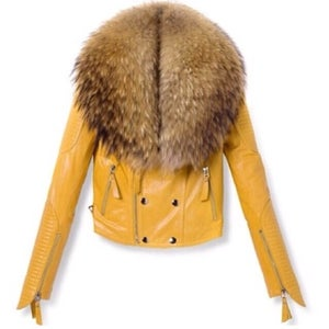Image of Pre-Order Mustard Yellow Motorcycle Jacket with Fur collar