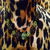Image of Green & Black Howlite Sugar Skull Candy Skull Bead Wire Choker Necklace