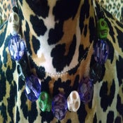 Image of Large Black & White Sugar Skull Candy Skull & Purple Clear Large Shaped Beads Choker Necklace