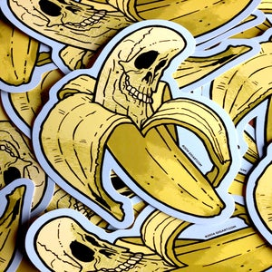 Image of Banana Skull Die Cut Vinyl Sticker