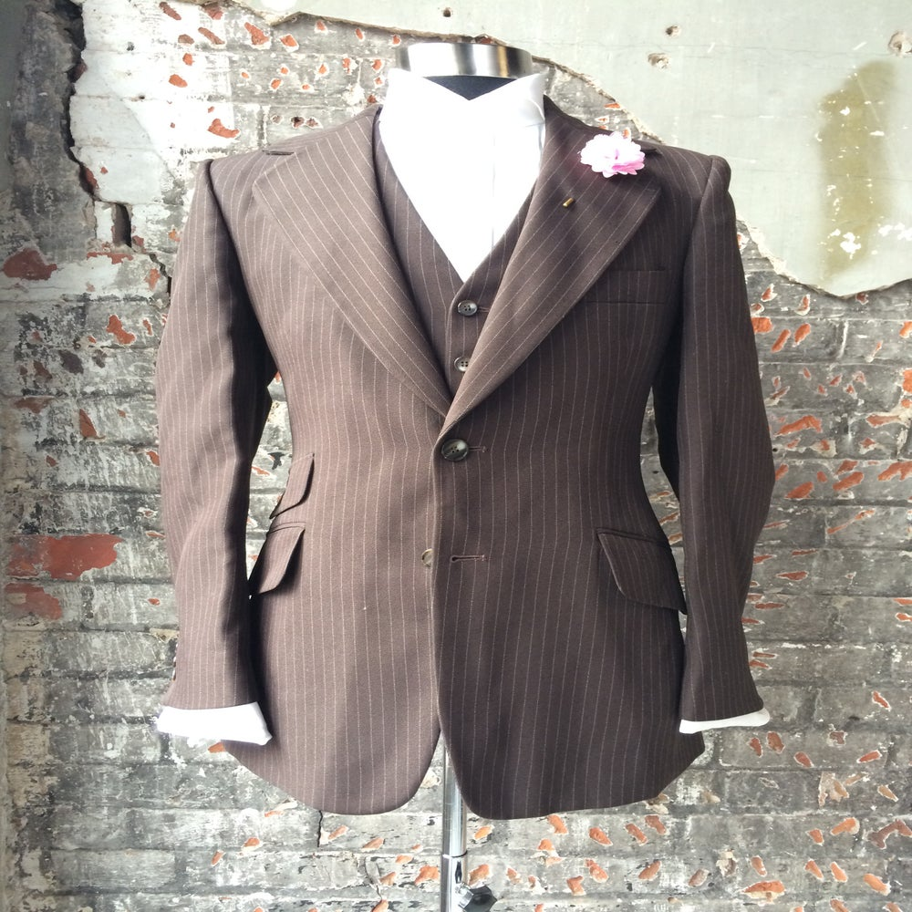 Image of Brown Pinstripe Jacket and WaistCoat