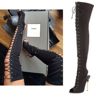 Image of Fierce Thigh High Tie up Boots