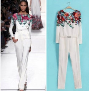 Image of Floral White Jumpsuit