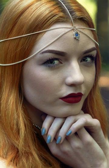 Image of Silver Hamsa Evil Eye Head Chain