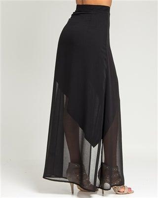 Image of Curtain Draped Chiffon Layered Skirt