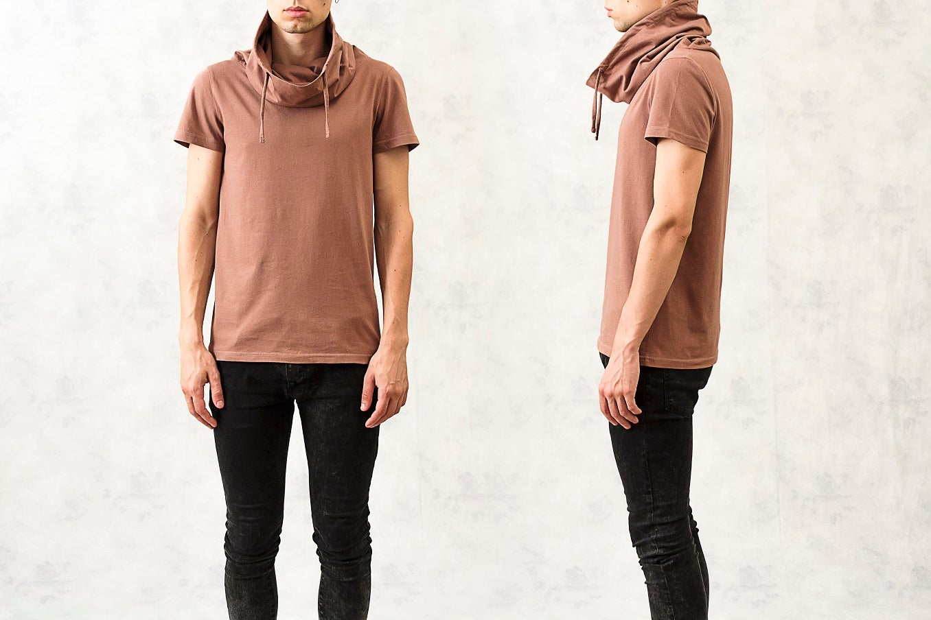 Image of Drawstring Polo-Neck Cotton T-Shirt