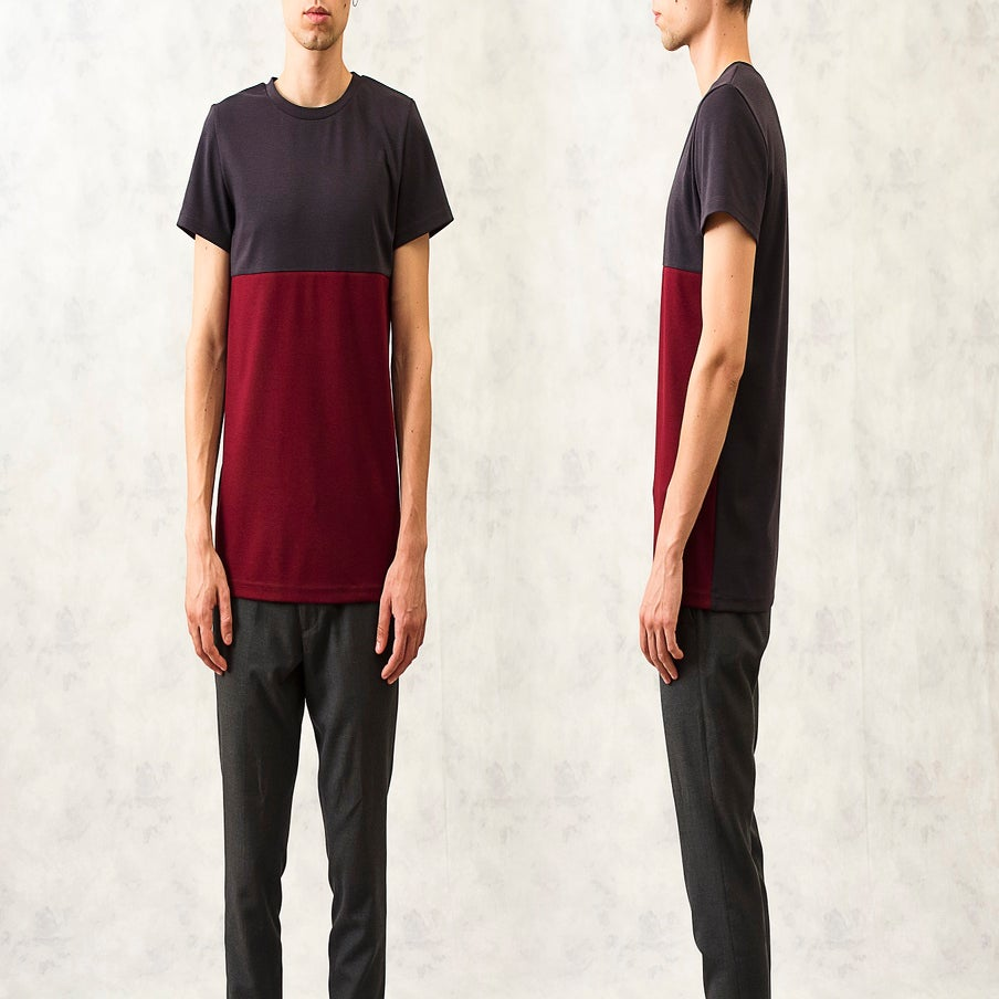 Image of Charcoal|Maroon Blocked T-Shirt