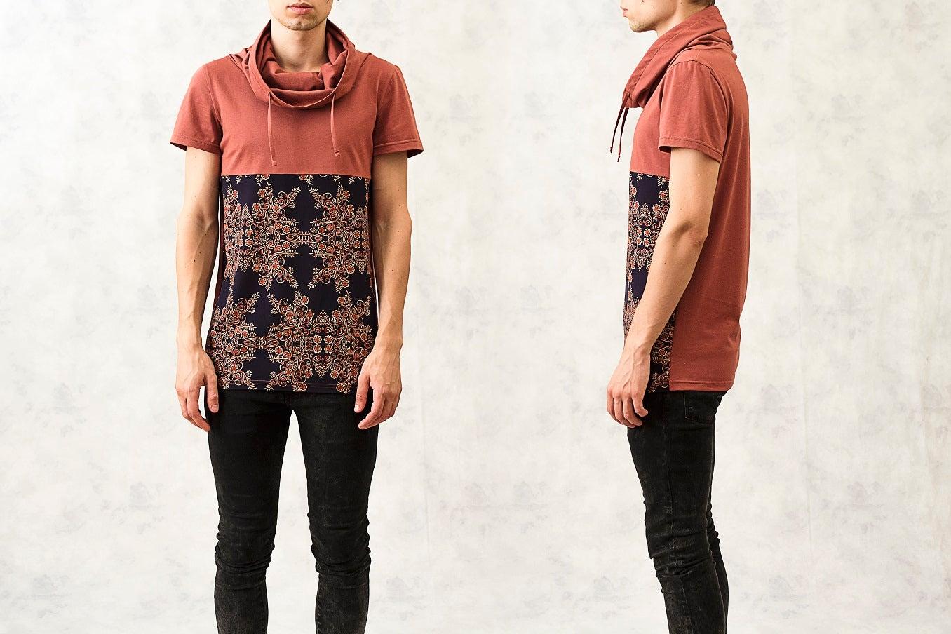 Image of Printed Drawstring Polo-Neck Cotton T-Shirt