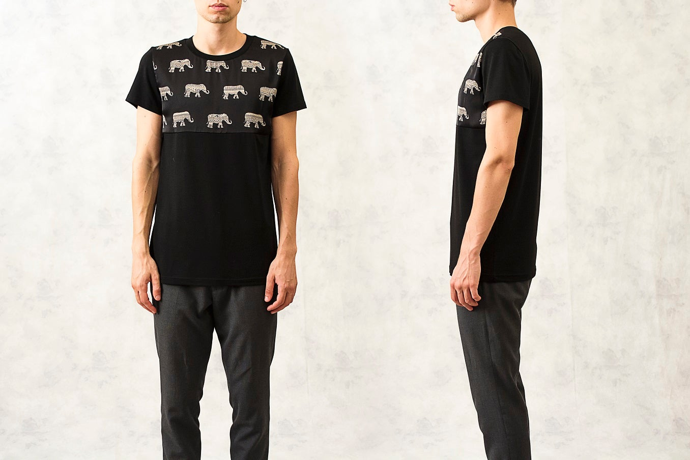 Image of Mosaic Elephant Yoke Print Cotton T-Shirt