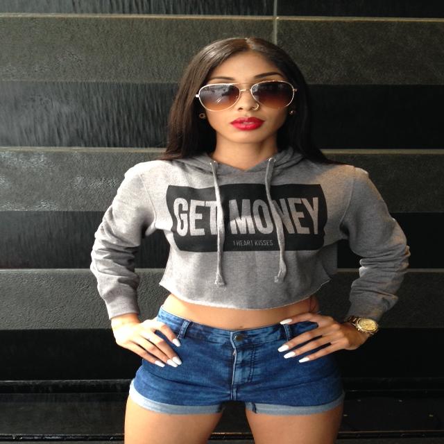 Image of GET MONEY CROP HOODIE - Grey