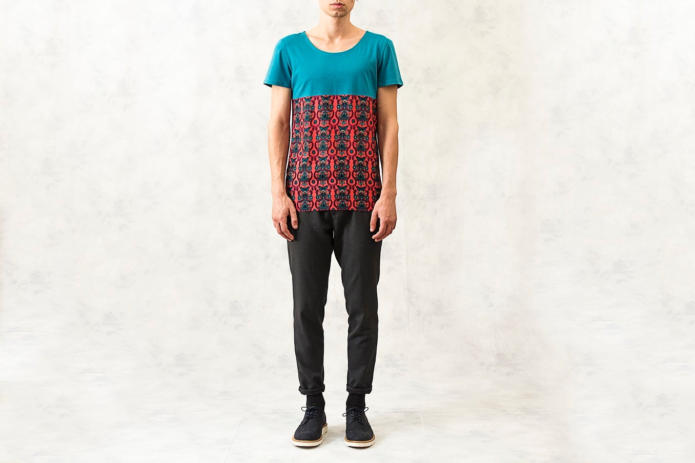 Image of Printed Panel Cotton-Blend T-Shirt