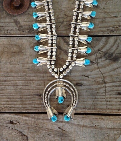 Image of Turquoise and Silver Squash Blossom Necklace