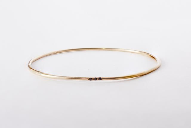 Image of Black Diamond Solid 14k Bangle