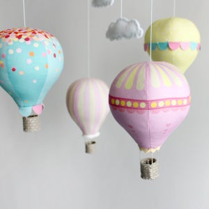 Image of Fabric Panel - Hot Air Balloons in Sherbet