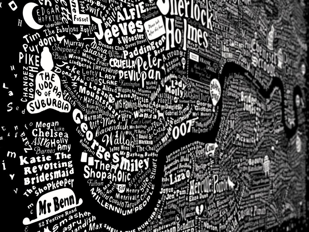 Image of Literary London Map (Frayed Edge, Black Screenprint 2014)