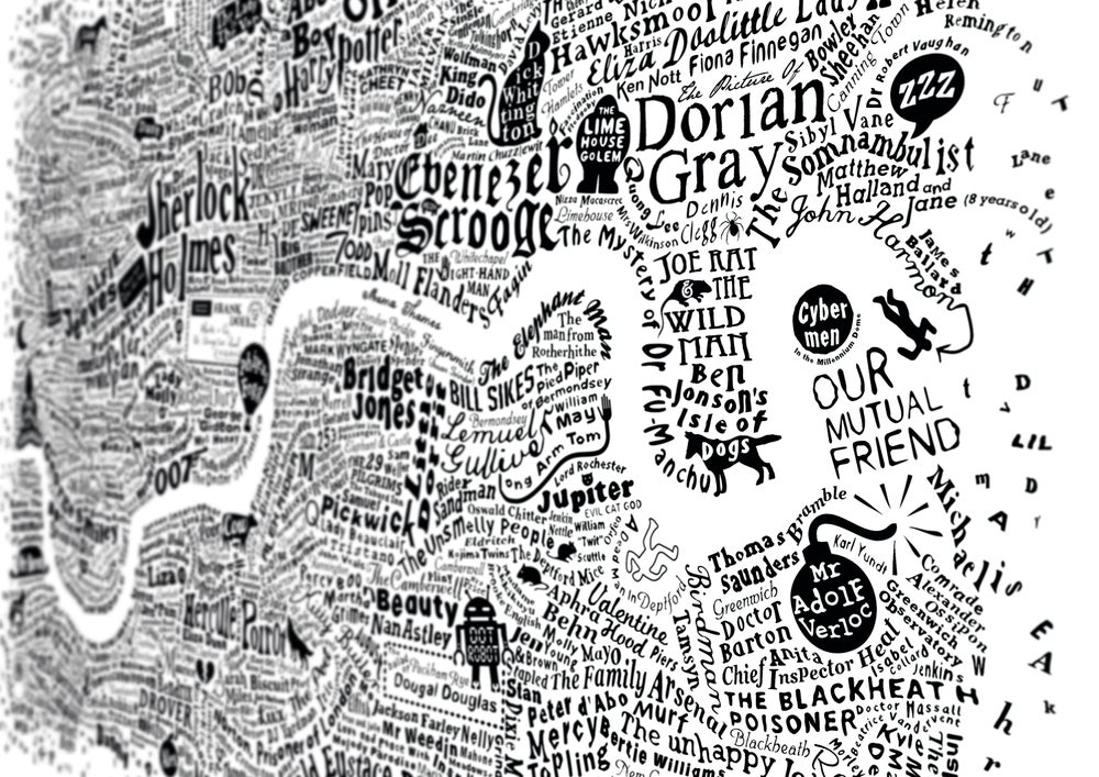 Image of Literary London Map (white screenprint, 2015)