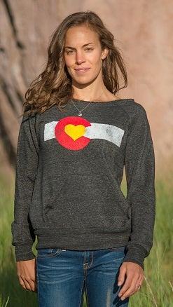 Image of Colorado Love Slouchy Sweatshirt - Charcoal
