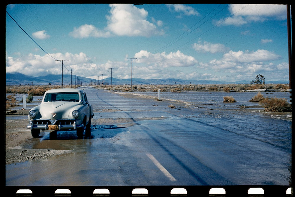 Image of Flooded Road.  The South West 1950's